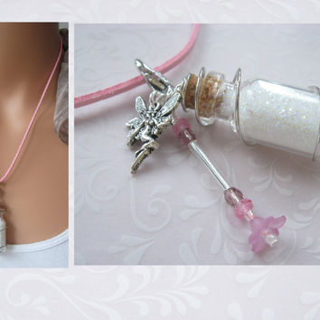 Necklace FAIRY DUST Bottle Pendant by BlueMoonHL on Etsy