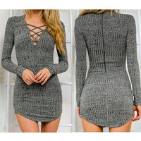 Autumn Winter Sexy Women Long Sleeve Knit BodyCon Slim Party Sweater Mini Dress