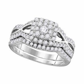14kt White Gold Womens Round Diamond Split-shank Bridal Wedding Engagement Ring Band Set 1.00 Cttw
