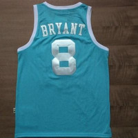 Lakers UNC #8 Bryant Jersey Shirts Light Blue Retro Throwback Hardwood Classics basketball jersey Hot Sale Free Shipping