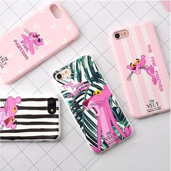 For iPhone X 8 Plus 7 Plus Case For iPhone 6S Case Silicon Candy Color Zebra Pink Panther Soft TPU Cover For iPhone 7 Case Funda