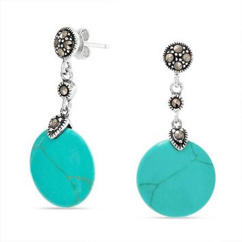 Round Turquoise Blue Drop Sequin Marcasite Earrings Sterling Silver