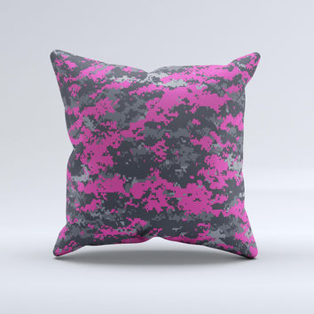 Hot Pink and Gray Digital Camouflage  Ink-Fuzed Decorative Throw Pillow