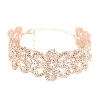 crystal alloy necklace collar Big Crystal Flowers Collar Choker Necklace