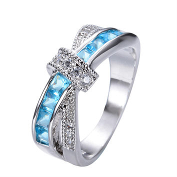 Lucky Cross Style Aquamarine Sapphire Vintage Jewelry Women Fashion Wedding Ring Anel  CZ  Filled Rings Sz6-10 RW0744