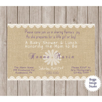 Burlap and Lace  Invitation Custom Design White Purple Flower Baby Shower, Wedding, Birthday, Bridal Shower, Bachelorette, Anniversary