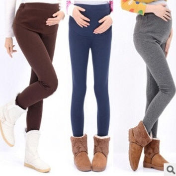 Comfortable Prop Belly Winter Women Maternity Clothing High Quality Pregnant Leggings Warm Pants For Pregnant Women -N5 = 1945726084