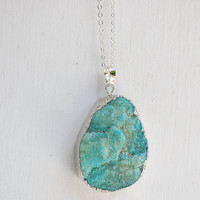 Mint Green AGATE Druzy NECKLACE Bohemian Stone Quartz Large Silver Edged Green Blue Crystal Stone Pendant