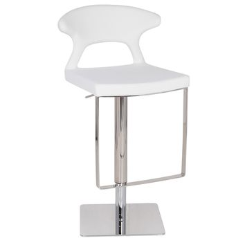 Hugo Hydraulic Bar Stool, White Leather