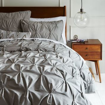 Organic Pintuck Duvet Cover, Full/Queen, Feather Gray