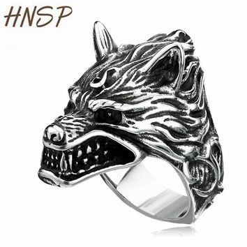 HNSP Punk Animal Giant Wolf Finger Ring For Men Male jewelry big Size 7-14 US