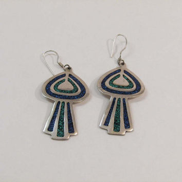 Vintage German Silver Chip Inlay UFO Spaceship Ancient Alien Earrings Turquoise/Malachite Mexico