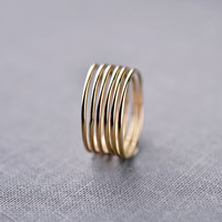 Set of 6 Solid 14K Gold Smooth Stacking Rings