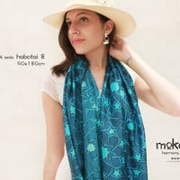"Night Mosaics 70"" X 35"" women wraps shawls // 100% silk - HABOTAI 8 // gifts for her // Wearable Art // summer, lovely second skin"