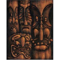 Wall of Tiki II by Dwight Francis Tattoo Art Canvas Print