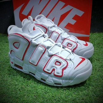 ONETOW Best Online Sale Nike Air More Uptempo OG Retro Sport Baskerball Shoes White Red Sneaker