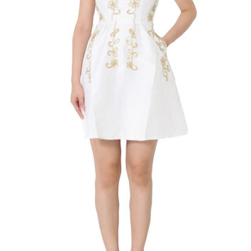 ARLIE Cap Sleeve Embroidery Dress in White