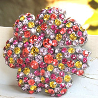 "Joan Rivers Rhinestone Brooch Pin, Fruit Salad, Large 2.25"",Vintage Brooch (6kbx)"