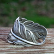 Silver feather RING. Unisex Size 14, 13 , 12, 11, 10, 9, or smaller.  Mens women. Thumb middle. Silver grey gray Holiday