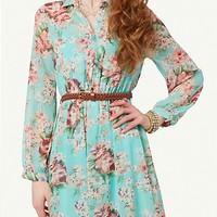 Floral Chiffon Shirt Dress