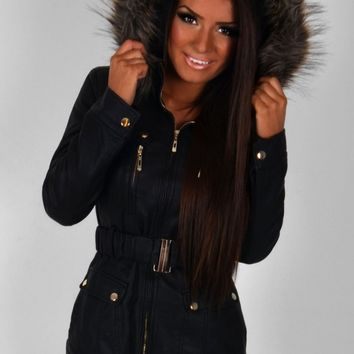 Lucita Leather Effect Faux Fur Trim Parka Jacket | Pink Boutique