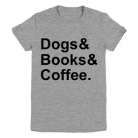 Dogs Books & Coffee Graphic Tee
