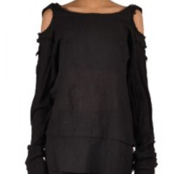 Are you cool enough to rocking this Hooks Sleeve Punk Shirt Top by Tripp NYC? Gauze and soft punk rock top featuring a round neckline, shoulder cutout with adjustable shoulder straps, gauze cotton fabrication, hooks detailing on long sleeves, and frayed de