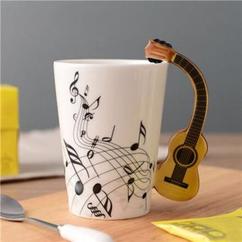 Guitar Ceramic Cup Personality Music Note