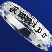 SILVER 925 HAWAIIAN BANGLE BRACELET BLACK ENAMEL KUUIPO SCROLL SMOOTH EDGE 6MM