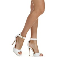 Sale- White Hot Step Heels