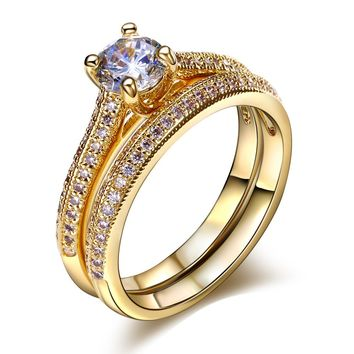 DreamCarnival 1989 Solitaire Wedding Rings Set for Women Love Forever Rhodium Gold Color CZ anillos mujer alyans Cincin wanita