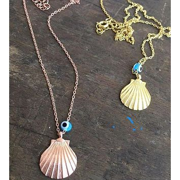 Seashell with Evil Eye Necklace 925 Sterling Silver