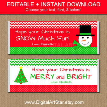 EDITABLE Christmas Chocolate Bar Wrappers - Printable Large Candy Bar Wrappers - Snowman Chevron Party Favors - Stocking Stuffer - INSTANT