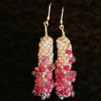 Fantasia Pink Bead Crochet earrings handmade in Pink by lanmom