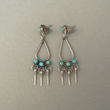 Old Pawn Vintage NATIVE American Zuni TURQUOISE Earrings Sterling Silver Snake Eye Petit Point Dangles c.1950s