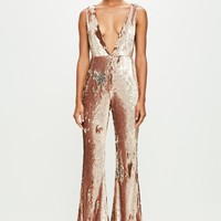 Missguided - Peace + Love Gold Sequin Jumpsuit