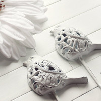 White Filigree Bird Hook / Shabby Chic Wall Decor / French Country /  Wall Hanging / For the Home / Garden Decor / White Home Decor