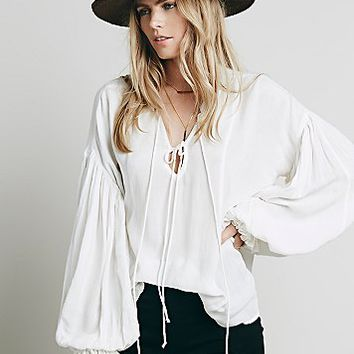 Free People Womens Lace Up Extreme Sleeve Top