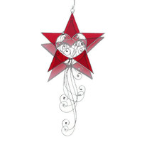 Red Stained Glass Star Suncatcher, Red Stained Glass Star, Stained Glass Star Suncatcher