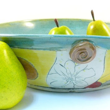 Large Decorative Ceramic Pasta Serving Bowl - Emerald Green Vessel Functional Art