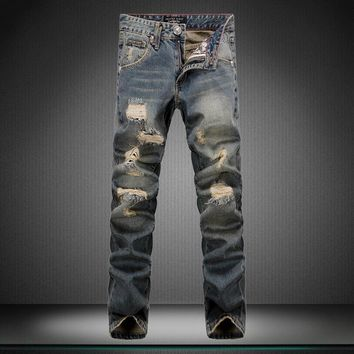 Irregular Ripped Holes Jeans [164468195357]