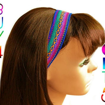 Blue, Red, Yellow Peruvian fabric, Peruvian textile, Multicolor, Woven Headband, Skinny Hairband, boho headband, thin headband