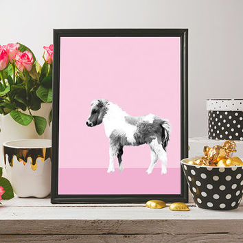 Pony print nursery art, pastel pink printable wall art, print for kids room decor, girls nursery art, art for girls room, nursery wall art