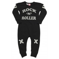 Rock n Roller Long Sleeve Playsuit Black| Babies Playsuits | Rock Your Baby