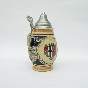 Western Germany Beer Stein, Vintage Beer Mug, Ceramic Mug,DBGM 53 inner Lid Stamp, UK Seller