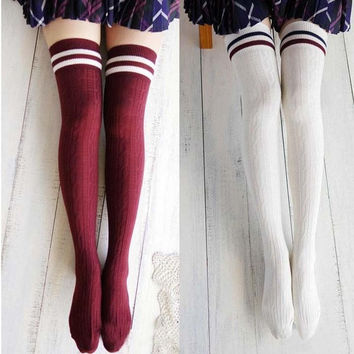 Women New Girls Cotton Knit Over Knee Thigh Stockings High Socks Hosiery Tights
