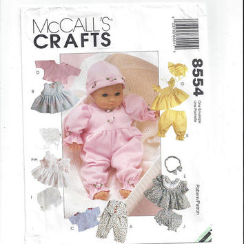 McCall's 8554 Pattern for Doll Clothes Package, 8 to 10, 11 to 13, 14 to 16 In. Dolls, From 1996, Most UNCUT, Vintage Pattern, Home Sewing
