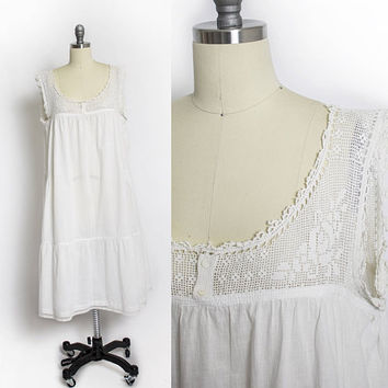 Antique Edwardian Slip - White Cotton Crochet 1910s-1910s Corset Cover - Small / Medium