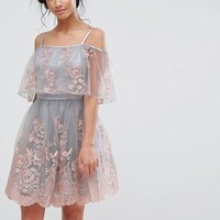 Chi Chi Petite 3D Embroidered Mini Skater Dress With Cold Shoulder Detail at asos.com