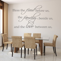 Bless this food before us religious family wall decal quote